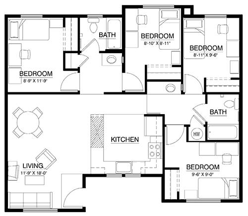 Corner Flat Floor Plan 19 Total