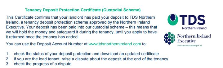 To check if your deposit is held by the custodial scheme, check your Deposit Protection Certificate.