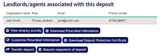 the page for Request repayment of deposit : TDS