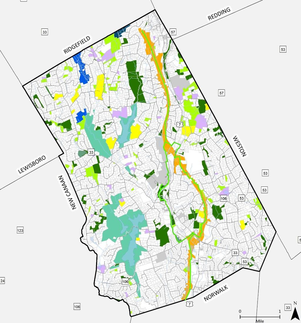Existing Open Space (Draft) Larger size map will be published on the Wilton 2029 website Created using data from Town of Wilton Assessor, CT DEEP, and Wilton Land Conservation Trust Input will be
