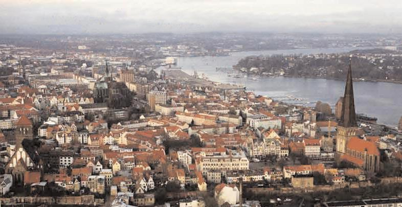 Modern-day Rostock with old town in the foreground and the