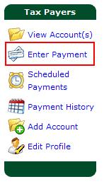Note: In order to apply a credit, please ensure that a credit exists on the account by referring to the View Account Screen. 1. From the menu, select Enter Payment.