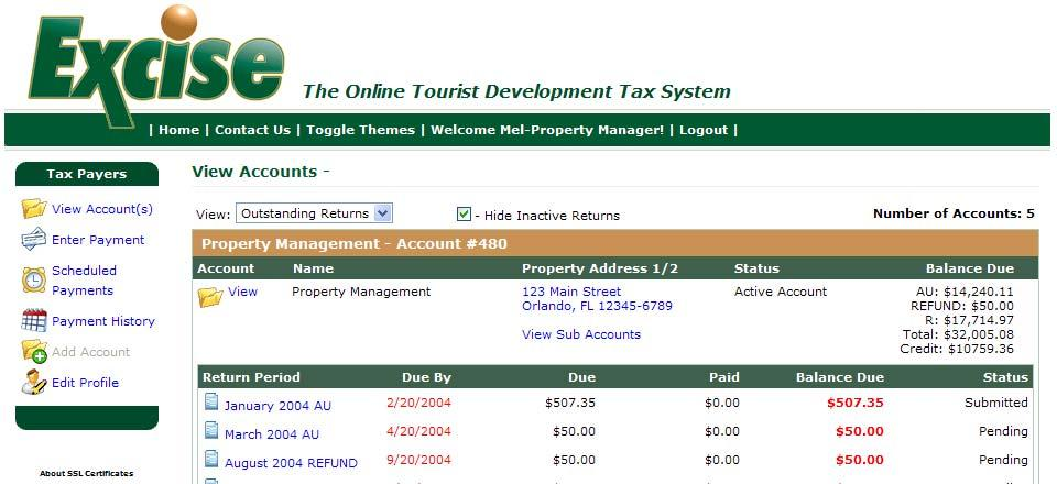 Navigating through the Taxpayer Home Screen The following is a screen shot of the Excise Taxpayer Home