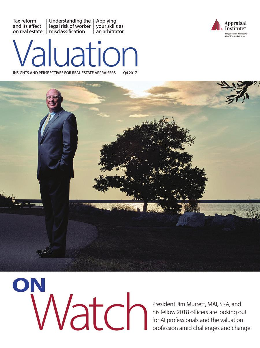 Valuation magazine Appraisal Institute s Quarterly Magazine The Appraisal Institute s quarterly magazine is mailed to over 18,000 valuation professionals.