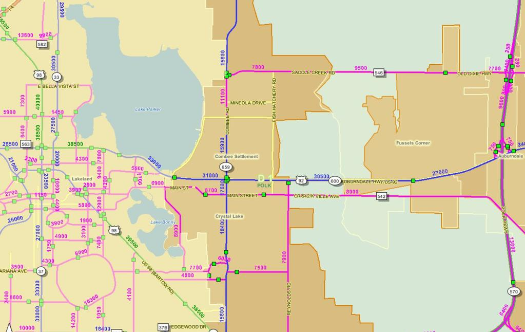 FDOT Traffic Count Map LAKELAND HIGHWAY 92 4.