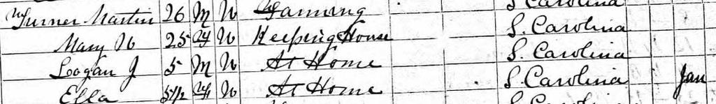 1870 U.S. Census, York County, South Carolina May 1846: Mastin Turner,born in NC/SC Mar 1848: Mary W?? Was born in SC; They were married about 1863/64.