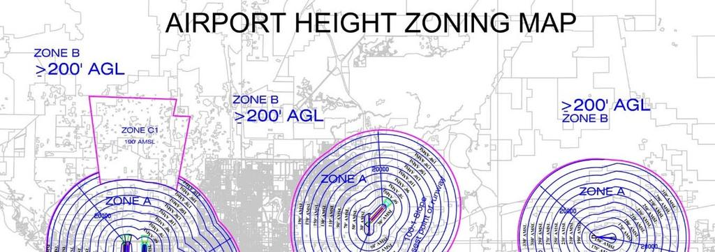 AIRPORT HAZARD EVALUATION (Effective October 13, 2015) Properties located within the map areas depicted below may be subject to a separate Airport Height Zoning Permit approval process of the