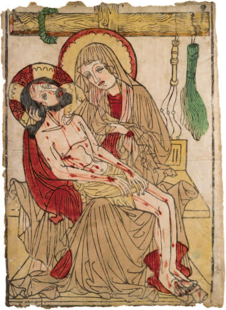 Anonymous (German). Pietà, 1435 50; woodcut, colored by hand with watercolor; 38.7 x 28.8 cm; Severance Millikin Trust 2002.