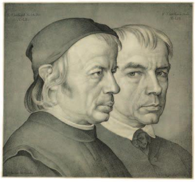 Johann Anton Ramboux (German, 1790 1866). Double Portrait of the Brothers Konrad and Franz Eberhard, Painter and Sculptor in Munich, 1822; lithograph printed in black and gray; 31.7 x 34.
