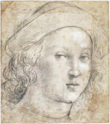 Raphael was an expert and highly inventive portraitist, as this black chalk head of a young man shows.