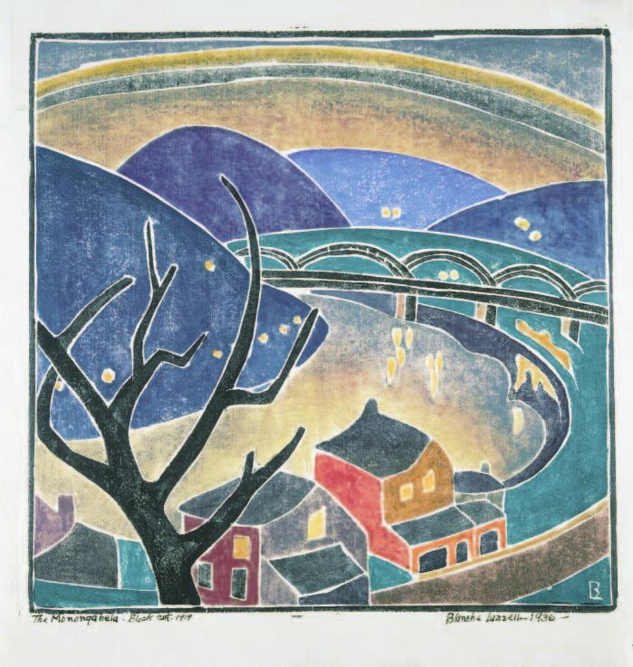 Blanche Lazzell s vibrant The Monongahela, 1919 (printed 1936), acquired by the Newark Museum in 1943, was one of 121 color woodcuts in From Paris to Provincetown: Blanche Lazzell and the Color