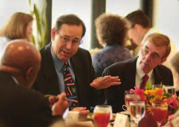 Ohio Governor Bob Taft (center) at a luncheon celebrating the collaboration between Cleveland State University s College of Education and the museum s Teacher Research Center.