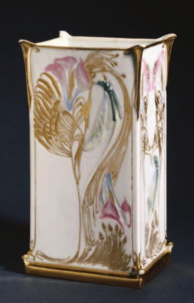 BENEFACTORS Vase. Designed by Georges de Feure (French, 1868 1943); made by Gérard, Dufraissex, and Abbot, Limoges, about 1903; porcelain with color glazes and gilding; 25.1 x 14 x 10.9 cm; John L.