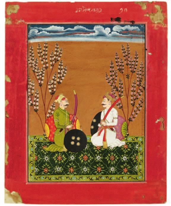 Raga Suramananda, from a Ragamala series. India, Bilaspur, about 1750; ink and color on paper; 23.8 x 19.1 cm; Gift of Dr. Norman Zaworski 2002.