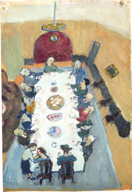 Charlotte Salomon (German, 1917 1943). Dinner Party (recto), 1940 42; gouache; 29.3 x 19.9 cm; Richard W. Whitehill Art Purchase Endowment Fund 2002.8.