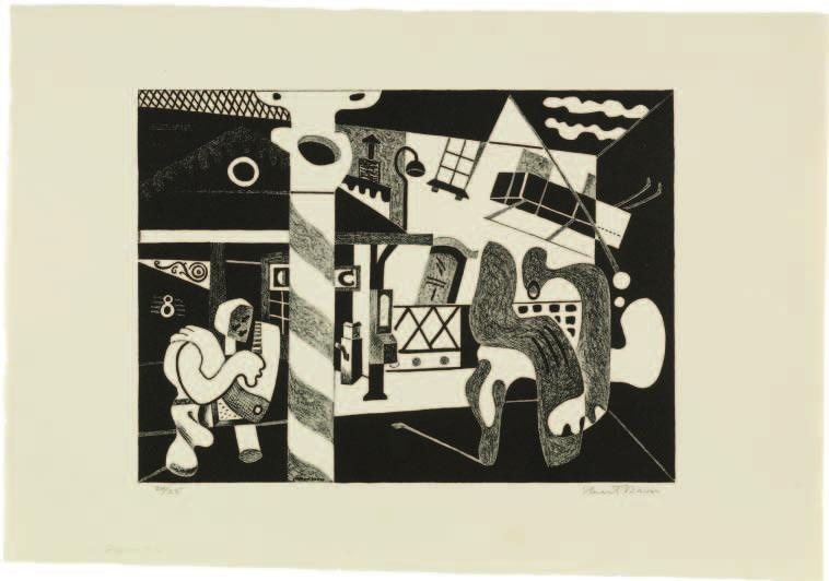 Stuart Davis (American, 1892 1964). Two Figures and El (Sixth Avenue El, No. 2), 1931; lithograph; 28 x 38.