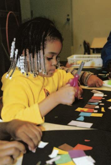 Education, Public Programs, and Outreach Area preschoolers create their own mosaics based on examples from the collection. This studio program is part of the Early Learning Initiative.