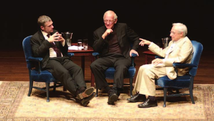 Critic Jeffrey Kipnis, Progressive Corporation head Peter B. Lewis, and architect Frank Gehry (left to right) share thoughts at Severance Hall in a June forum on creativity in management.