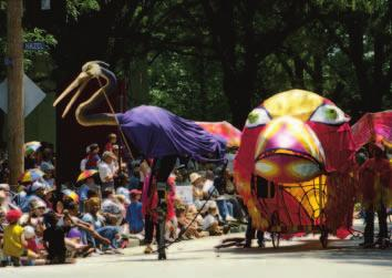 Parade 2002 guest artists Mary Jo Nikolai and Amy Ballestad created this ensemble: Bird Brained Ornithologists.