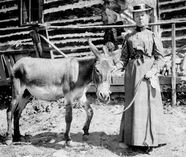 Edna Bleakney with donkey (Collection of Richard