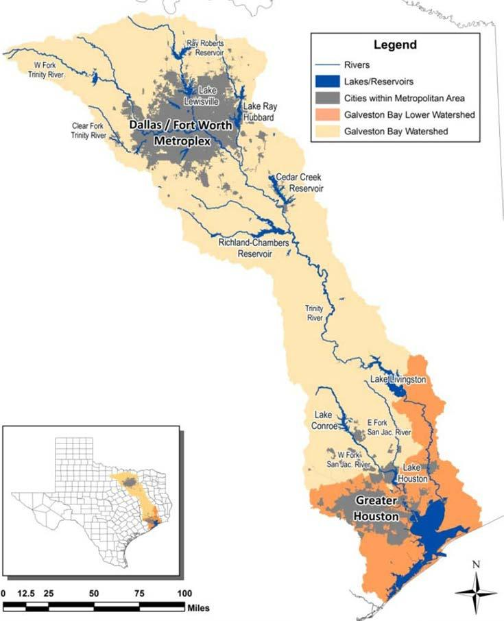Fed by freshwater from the San Jacinto (28%) and Trinity (54%) rivers,