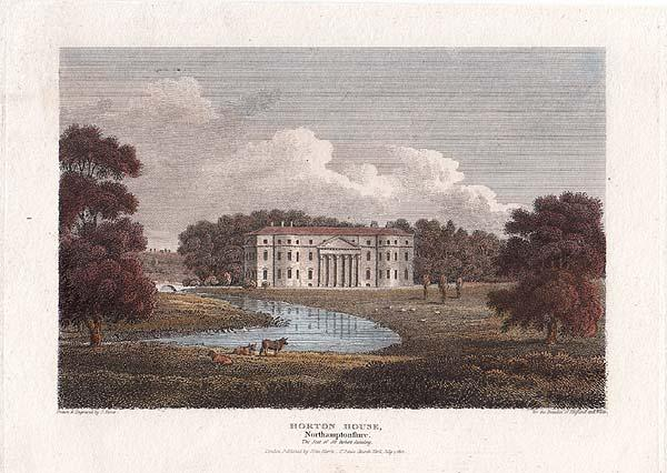 Fig. 49: Horton House in an antique line engraving drawn and engraved by J. Storer. Published in 1812. Later colored by hand.