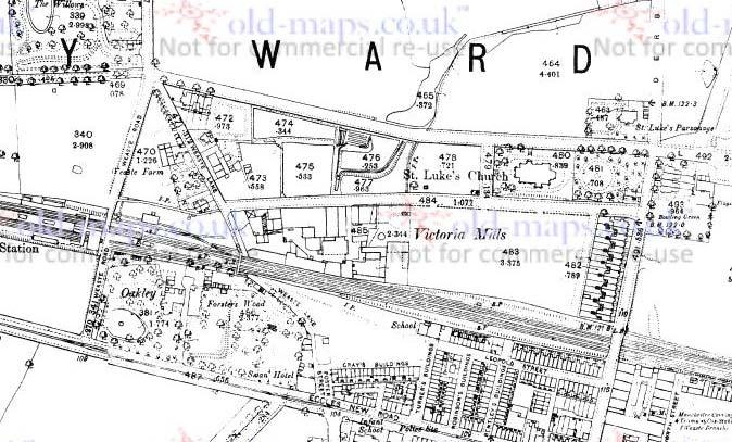 Fig. 13: 1892 map of the area of Victoria Mills by St. Luke s Church and Weaste Lane.