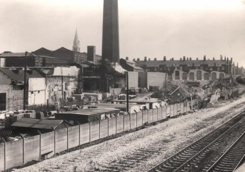 Fig. 17: Undated photograph of Victoria Mills, described as alterations at Winterbottoms factory from footbridge,
