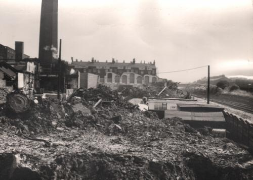 18: Photograph of Victoria Mills, re-construction in progress. From Salford Archives. May have been taken August 1973.