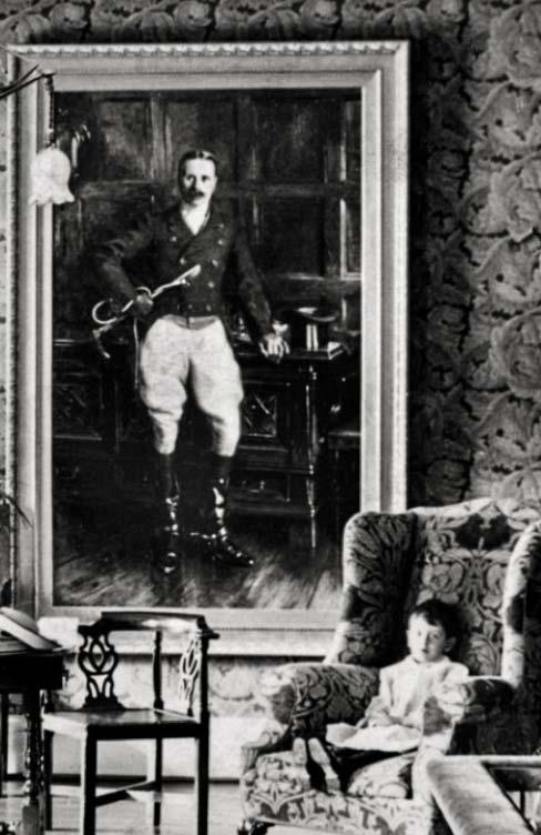 Fig. 24: Photo dated 1900 of William Dickson Winterbottom (in the wall painting) and Rodney in the chair, from the Historic England Archive.
