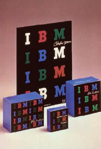 A strong corporate identification was achieved through a repeating pattern of blue, green, and magenta capital letters on black package fronts, white handwritten product names, and blue package tops