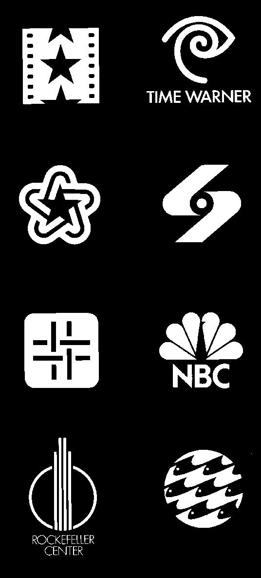 Chermayeff & Geismar Associates, trademarks for (left to right, top to bottom) the American Film Institute, 1964; Time Warner, 1990; the American Revolution Bicentennial, 1971; Screen Gems, 1966;