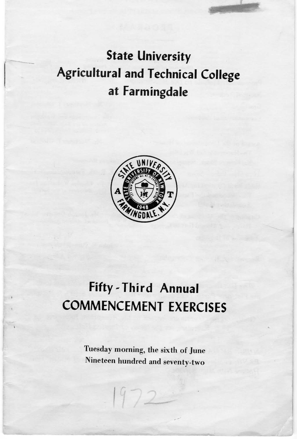 State University Agricultural and Technical College at Farmingdale Fifty-Third Annual