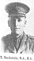 Surname Mackenzie Serial G6 Frederick Thomas, MA (St And) BA (Oxon) Royal Field Artillery Lieutenant Missing 23 March 1918 Near Beaumont-en-Beine Lieutenant Mackenzie was a Lecturer in the University