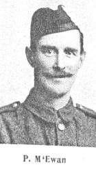 Surname McEwan Serial G4 Peter 68 St Andrews Street, Dundee Black Watch 4th Bat. Corporal Died 3 May 1918 Forfar Corporal McEwan had been in the Regular Army and served in the South African War.