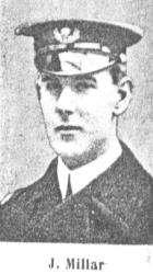 Engineer Lieutenant 5 July 1915 John Millar's ship was blown up by contact with a