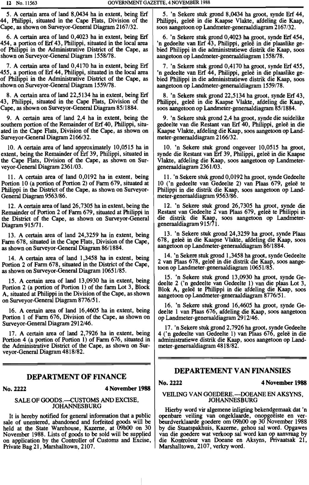 12 No.1l563 GOVERNMENT GAZETTE, 4 NOVEMBER 1988 5.