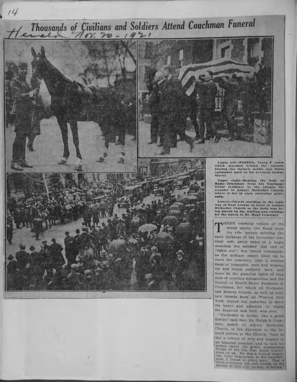 t Central Lbrary of Rochester and Monroe County Hstorc Scrapbooks Collecton Thousands of Cvlans and Solders Attend Couchman Funeral pper left FOSTKK, -roop F horse whch marchrl lhlnd the casson,