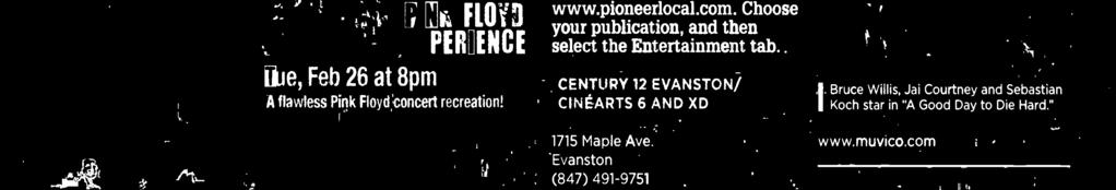1715 Maple Ave. Evanston (847) 491-9751 www.cinemark.