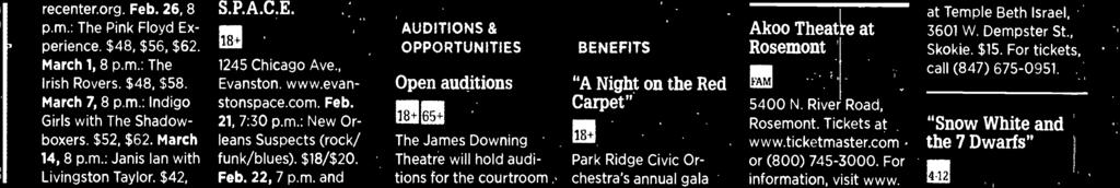 ":14l4Í ""A Night on the Red Carpet"" Park Ridge Civic Orchestra's annual gala benefit, 6:30 p.m. March 2 at Cafe la Cave, 2777 N."