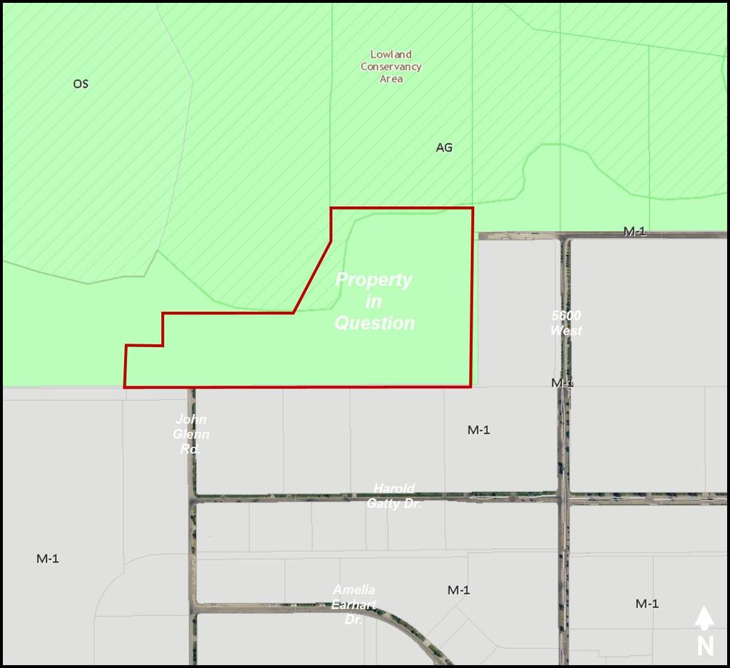 The property in question is outlined in red. The current zoning on the property is AG Agriculture.