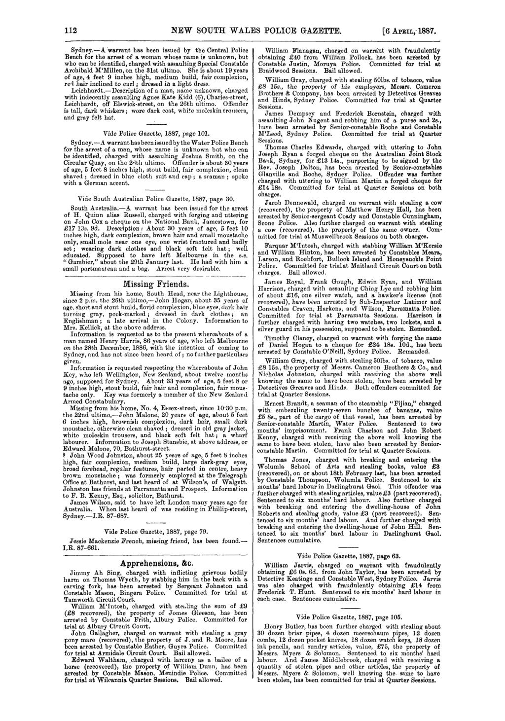 112 NEW SOUTH WALES POLICE GAZETTE. [6 APRIL; 1887, Sydney.