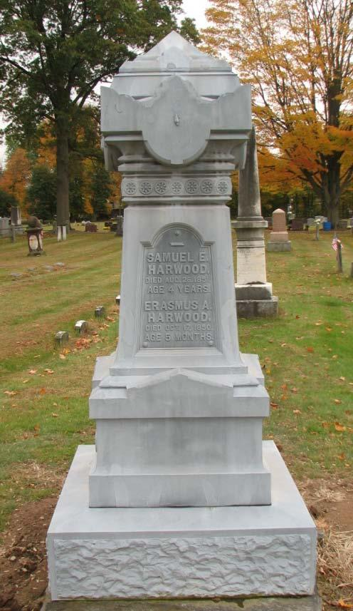 Samuel E. Harwood Died Aug 26, 1851 Age 4 years Erasmus A. Harwood Died Oct.
