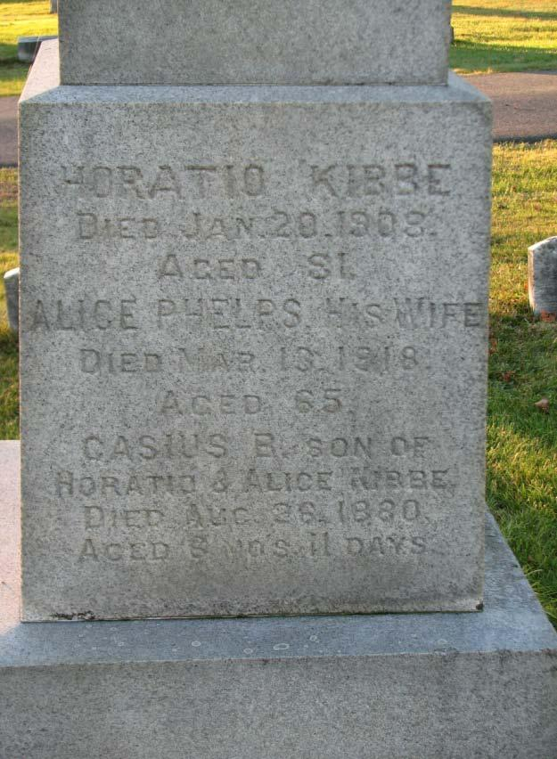 Horatio Kibbe Died Jan. 20, 1908 Aged 81 Alice Phelps Died Mar. 13, 1918 Aged 65 Casius B.