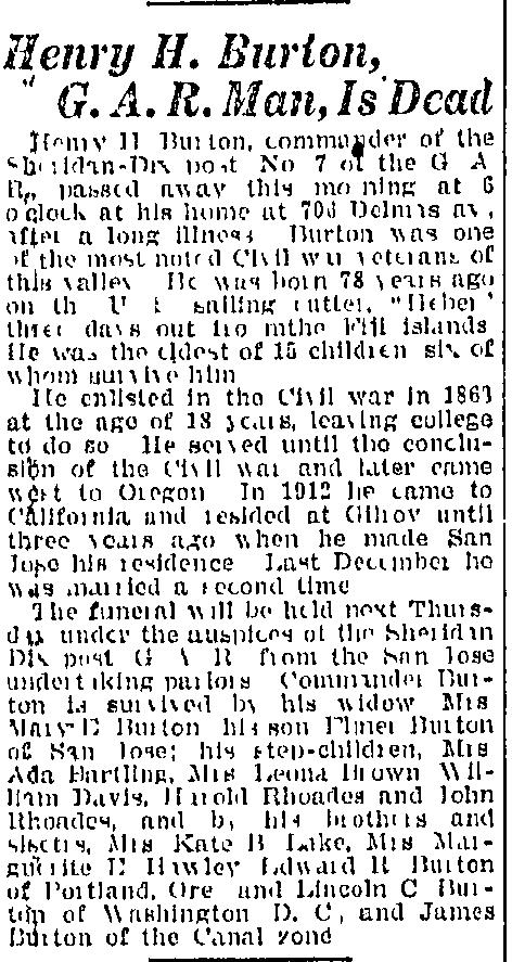 [Evening News, San Jose, CA, Tuesday, Aug 15, 1922 p.2] 3. Sarah Kate Burton b. 1846 OR 1928 OR buried Yamhill-Carlton Cemetery, Yamhill, Yamhill Co, OR m. Mr. Lake 1850: Yamhill Co, OR; John J.