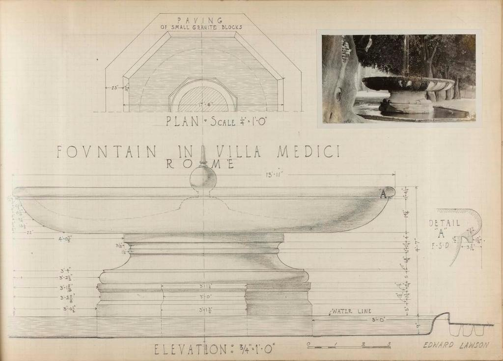 Lawson in Rome Villa Medici, Rome, Pencil drawing of the Fontana della Palla di Cannone, by Edward Lawson from his sketchbook. When Lawson sailed for Europe, his Course of Study was not yet settled.