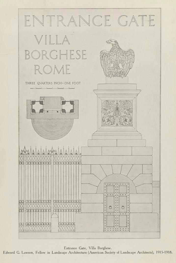 Left: Villa Borghese, Rome, Ink drawing of the Entrance Gate (one of a pair) designed by Antonio and Mario Asprucci, circa 1775. Right: Pencil drawings and photographs of the villa courtyard plinths.