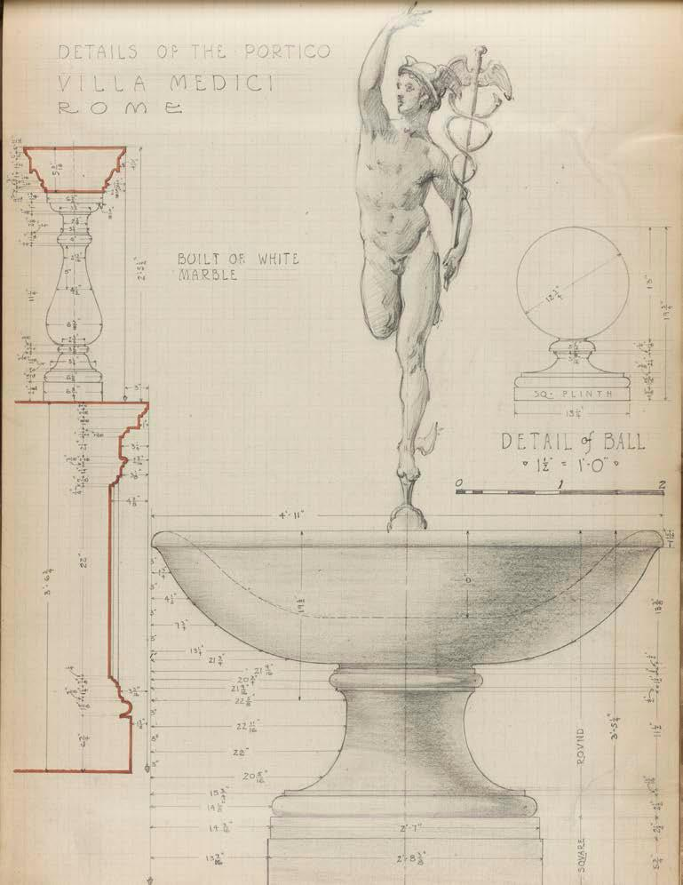 Academy Projects Villa Medici, Rome, Pencil drawing by Edward Lawson of the Mercury Fountain from his sketchbook (undated). Lawson s completion of the Villa Gamberaia project was well timed.