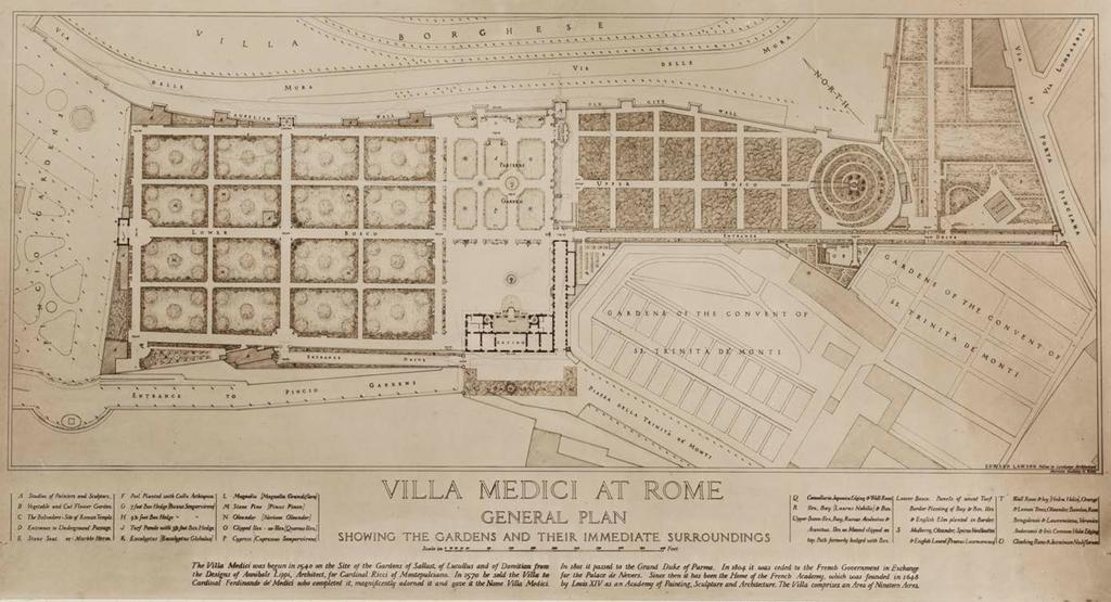 and Villa Medici and Bosco Parrasio in Rome. For these three gardens, he produced another round of finely rendered drawings.