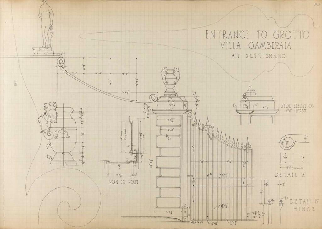 Lawson at Cornell Villa Gamberaia, Settingnano, Pencil drawing of Entrance to Grotto drawn by Edward Lawson (undated).